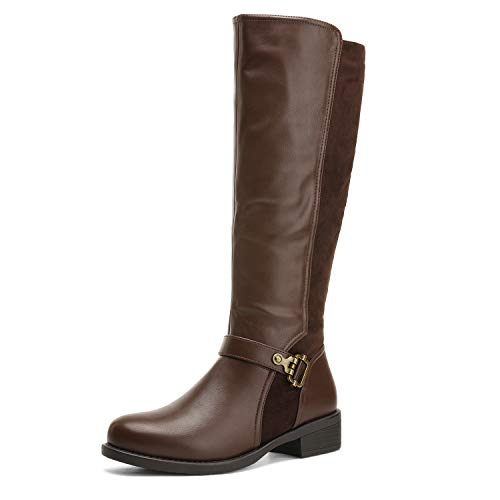 DREAM PAIRS Women's Brown Knee High Winter Riding Boots Size 9 B(M) US Penny-3