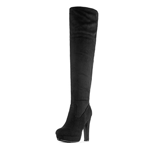 DREAM PAIRS Women's HIGHPLAT Black Chunky Thigh High Over The Knee High Heel Boots Size 10 B(M) US