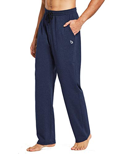 BALEAF Men's Cotton Yoga Sweatpants Open Bottom Joggers Straight Leg Running Casual Loose Fit Athletic Pants with Pockets Heather Blue XL