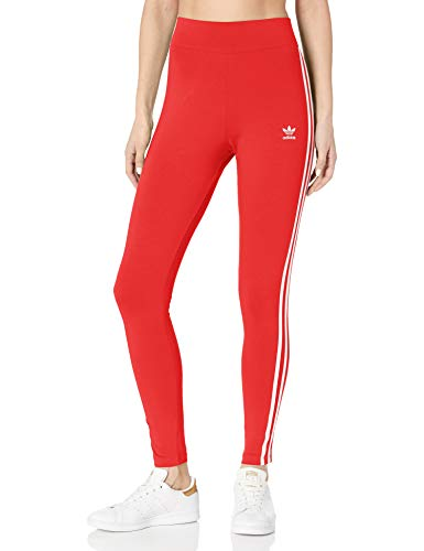 adidas Originals Women's 3 Stripes Tights, Lush Red/White, 2XS