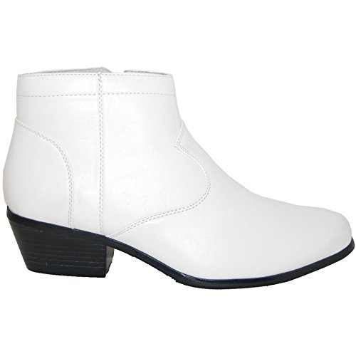 A Shoe Factory 2 Inch High Cuban Heel Boot, Leather Lined Men, White, Size 8