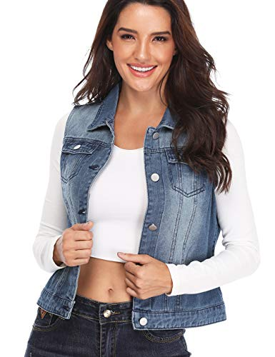 Denim Vest for Women Distressed Classic Button Sleeveless Jean Jacket Blue L