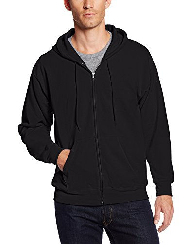 Hanes Men's Full-Zip Eco-Smart Fleece Hoodie, Black, Large
