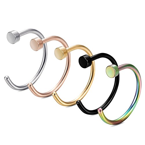 FIBO STEEL 20G Stainless Steel Body Jewelry Piercing Nose Ring Hoop 5PCS