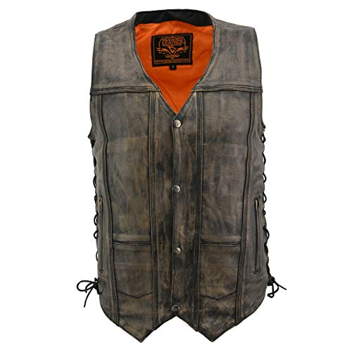 Milwaukee Leather MLM3540 Men's Distressed Brown 10 Pocket Leather Vest with Gun Pockets - 3X-Large