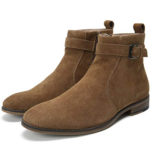 Cestfini Buckle Suede Chelsea Boots for Men Genuine Leather Dress Boots with Side-Zipper, Casual Waterproof Ankle Boots DAVE004-CAMEL-10.5