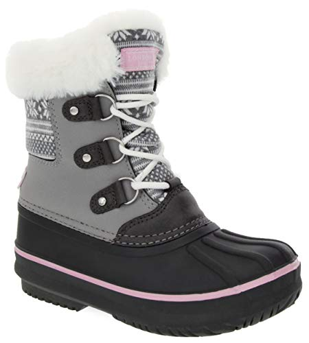 LONDON FOG Girls Tottenham Cold Weather Snow Boot Grey Felt/Pink Size 3