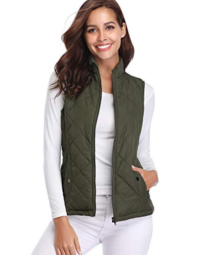 Fuinloth Women's Padded Vest, Stand Collar Lightweight Zip Quilted Gilet Green S
