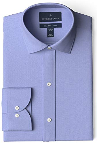 Amazon Brand - Buttoned Down Men's Slim-Fit Spread Collar Pinpoint Non-Iron Dress Shirt, Blue, 16' Neck 37' Sleeve