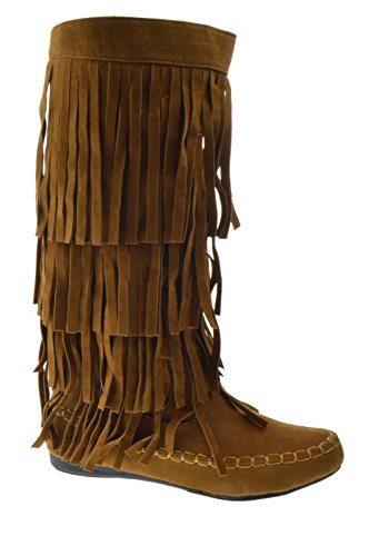 AXNY Mudd 55 Womens 4 Layer Fringe Moccasin Mid-Calf Boots Rust,Rust,9