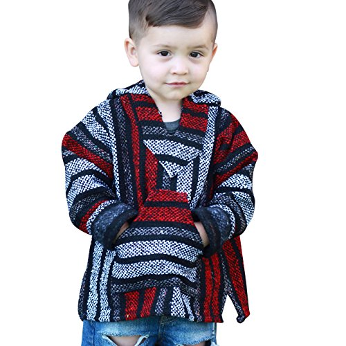 Youth Kids Mexican Baja Hoodie Pullover Sweater Unisex Boys Girls (X-Large (11-12 Years), Red/Gray)