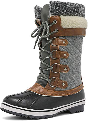 DREAM PAIRS Women's Monte_02 Black Grey Mid Calf Winter Snow Boots Size 9 M US