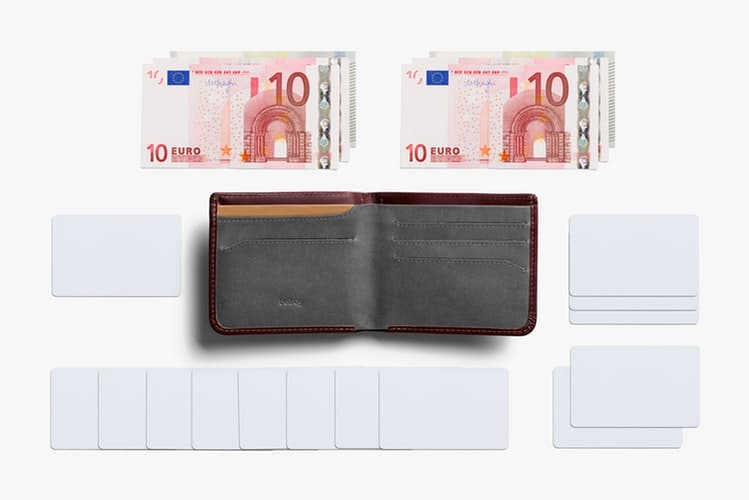 One of the many types of wallets, Bellroy slim wallet showing compartments, cardholders and 10 euro bills.