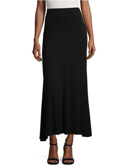 A black flare skirt on a model.