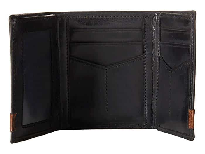 Open trifold wallet showing different card pockets.