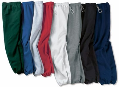 Different colors and sizes of drawstring sweatpants -  a type of sweatpants.