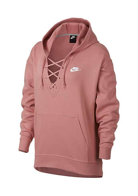 Pink lace front hoodie designed by Nike.