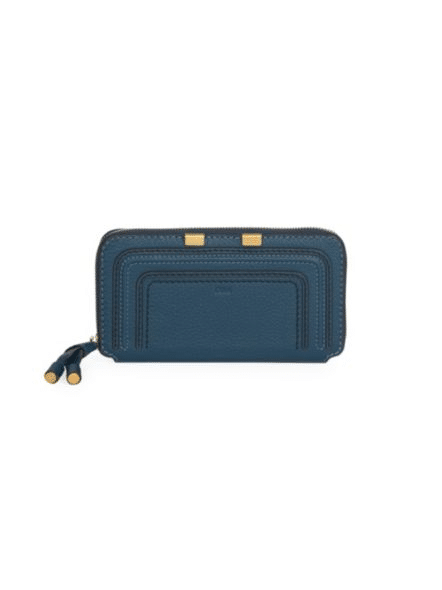 Women's wallet styles, zip around leather wallet, an example of one of the different types of wallets for women.