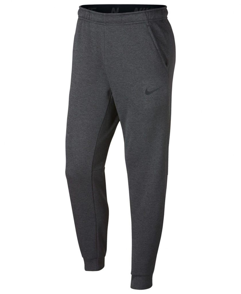 Charcoal grey tapered sweatpants for men.