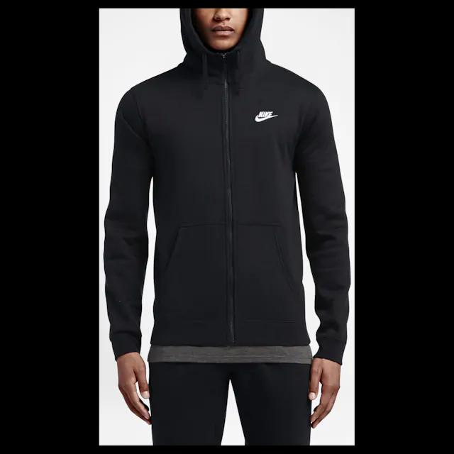 Man in black Nike full zip up fleece hoodie.