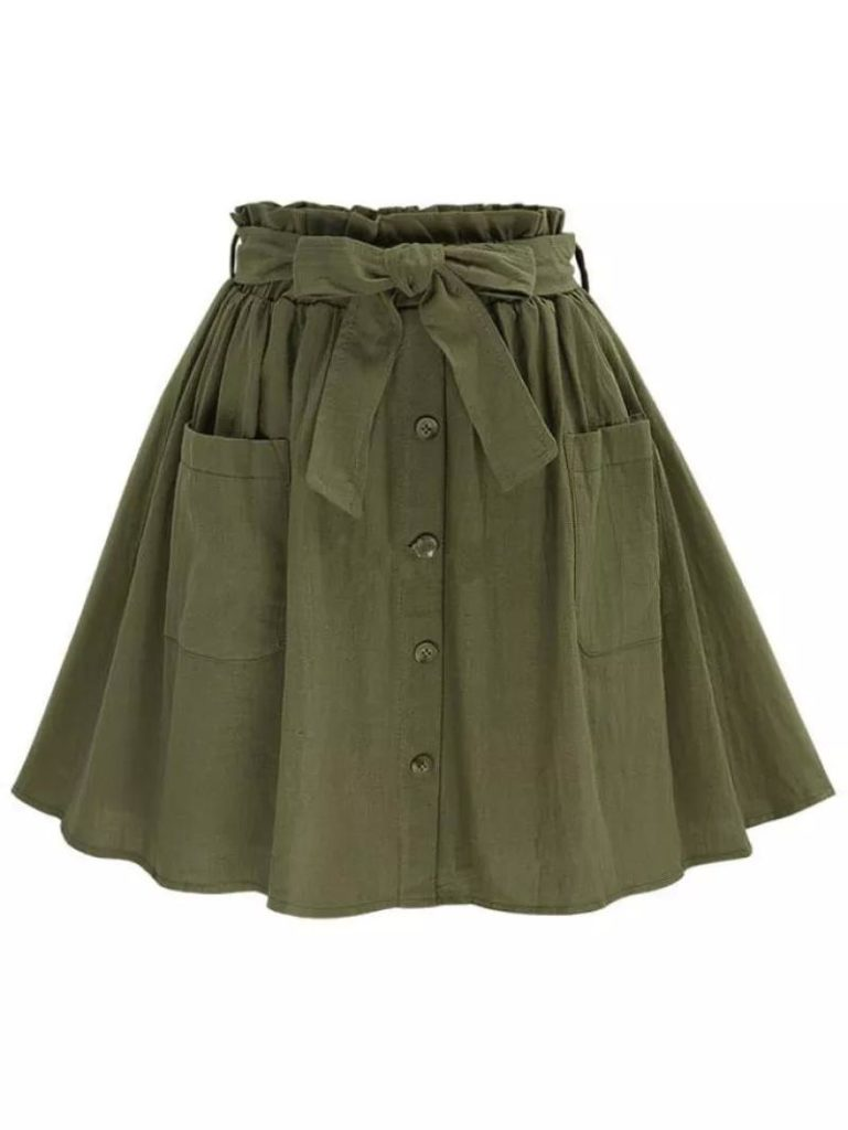 A short pleated green circle skirt with a button up front.