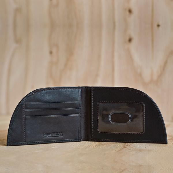 An open front pocket wallet showing the different pockets.