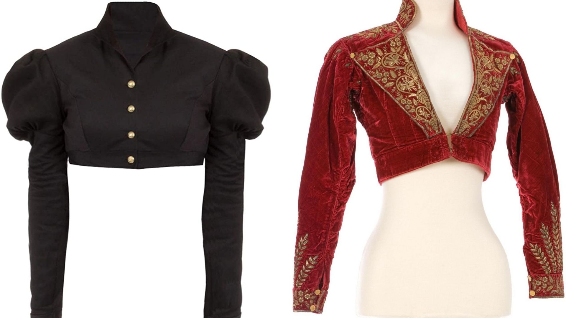 Black Spencer Jacket and Red Spencer Jacket with golden embroidery side by side.