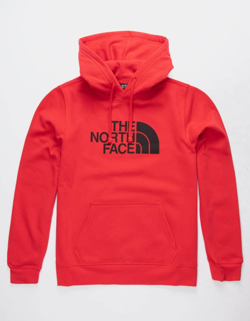 Red hoodie with front pockets and drawstrings by The North Face.
