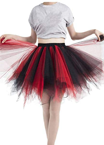 A model wearing a black and red bubble skirt.