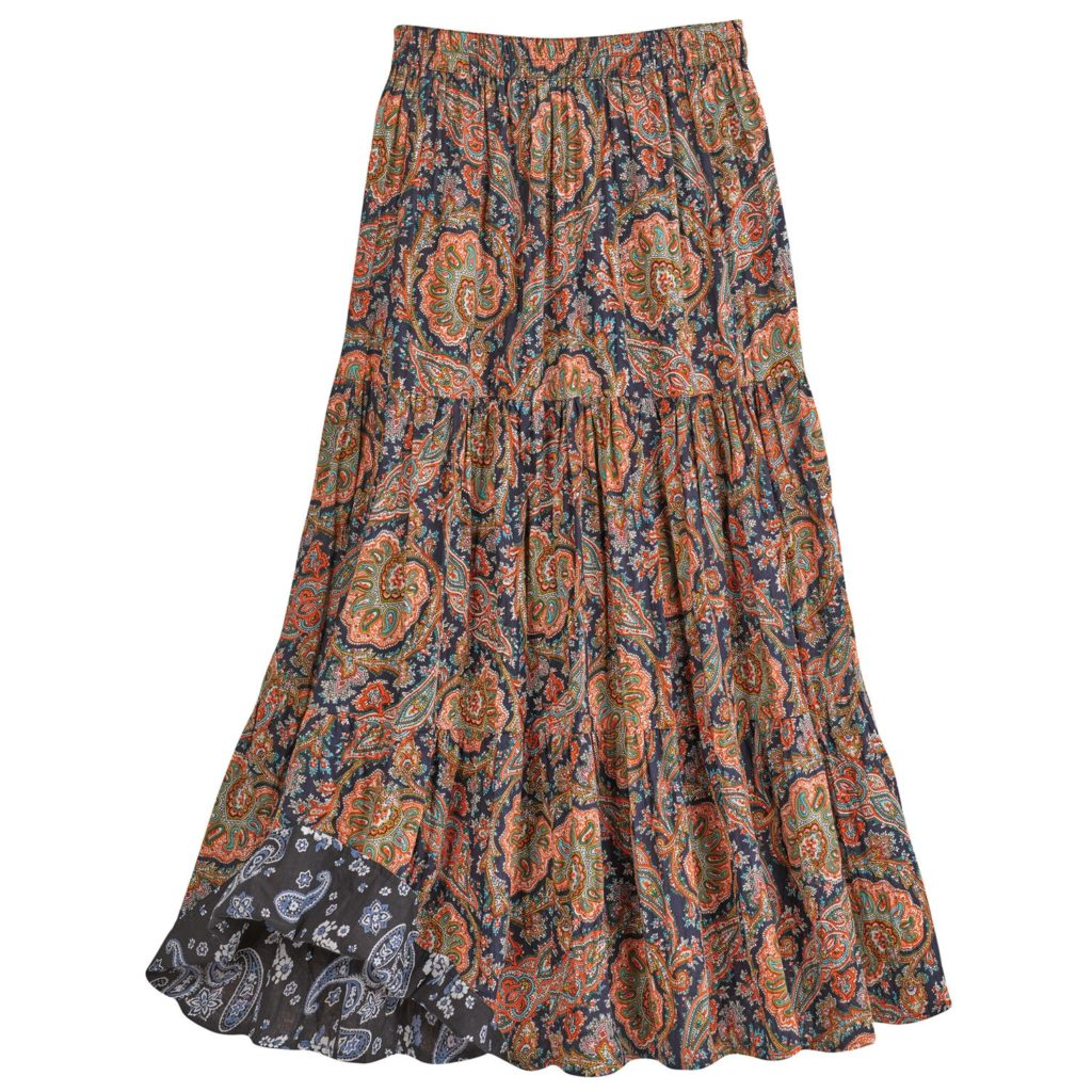 A multicolored broomstick skirt. One of the popular types of long skirts.