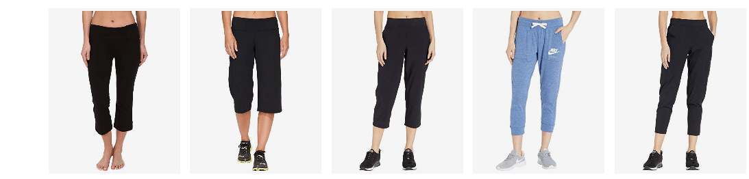 Different colors and styles of cropped sweatpants.