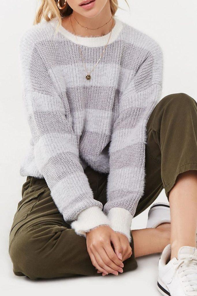 Stripped Fuzzy Sweater
