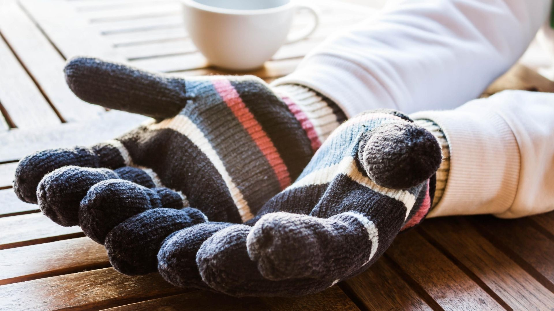Thick, insulated wool gloves.